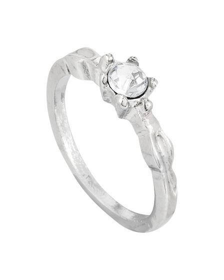 Silver, round cut engagement ring from Poundland. Photo: Suppled by Talker Tailor