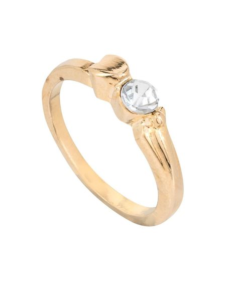 Gold, round cut engagement ring from Poundland. Photo: Suppled by Talker Tailor