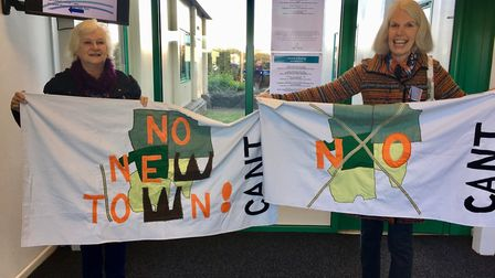 Di Dann, on the right, from the Campaign Against the New Town (CANT), said local views should be tak
