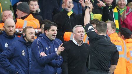 Ipswich Town Manager Paul Lambert is sent off by Referee Peter Bankes during the Sky Bet Championshi