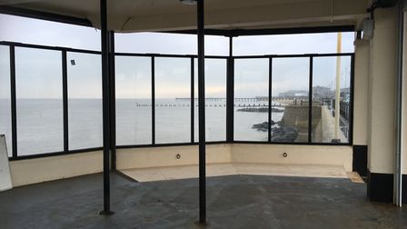 The shelter on Lowestoft promenade, which is being refurbished for people to sit and enjoy views of