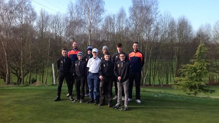 Pictured at Bawburgh Golf Club are, back row, left to right, Alex Beckett (coach), James Tipling, T
