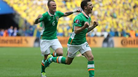 Wes Hoolahan celebrates scoring for the Republic against Sweden at Euro 2016 Picture: PA