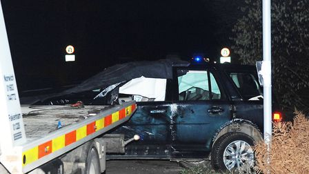 The Duke of Edinburgh's car after it was involved in a collision at Babingley, near King's Lynn Pic