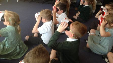 School pupils in Norfolk taking part in a virtual reality workshop. Picture: TOFTWOOD INFANT SCHOOL
