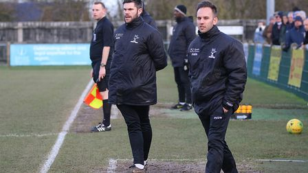 Dereham Town joint managers Adam Gusterson, left, and Olly Willis Picture: Alan Palmer Photography