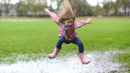 The puddle jumping is judged on its height, style and enthusiasm. Picture: Ian Burt