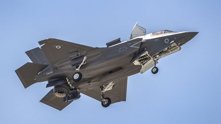 An F-35 comes in to land on the first of the Vertical Landing Pads at RAF Marham Picture: Crown Copy