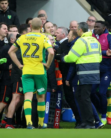 The eruption - chaotic scenes on the touchline during the game against Ipswich Picture: PA