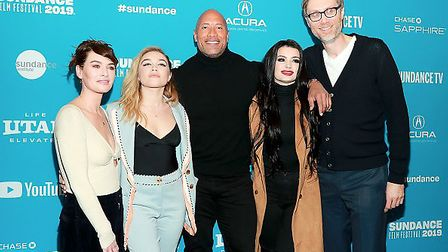 Lena Headey, Florence Pugh, Stephen Merchant, Paige and Nick Frost from 'Fighting With My Family' po