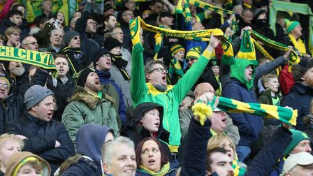 The Norwich fans display their Yellow & Green before the Sky Bet Championship match at Carrow Road,