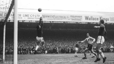 Gordon Banks makes a save at Carrow Road in March 1963, as Leicester City beat Norwich 2-0 in the FA