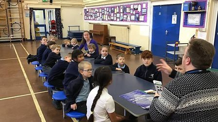 Buxton Primary School's school council had a meeting with Reverend David Hagan-Palmer to discuss the