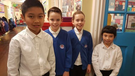 Iceni Academy students Danny and Seren with Chinese pupils Nick and Amy Li who visited the academy f