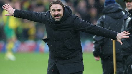 Daniel Farke enjoys the moment after City's 3-0 home win over arch rivals Ipswich Picture: Paul Ches