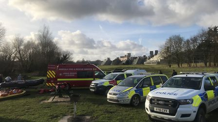Emergency service teams continue to search the lake at the UEA. Picture: Neil Perry