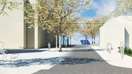 An illustrative view looking north from Bowthorpe Road towards the proposed new hospital. Photo: GL