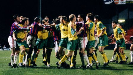 A 21-man free-for-all between Norwich City and Crystal Palace in 1996. Picture: Archant