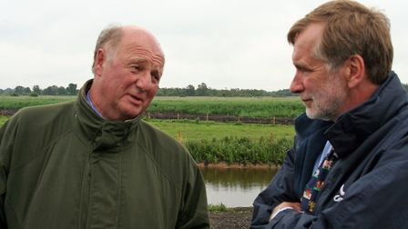 Broadland farming campaigner Louis Baugh (right) hosted a visit from farming minister Sir Jim Paice