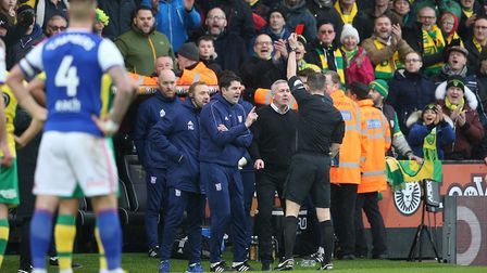 Ipswich boss Paul Lambert is sent off by referee Peter Bankes during the match at Carrow Road Pictur