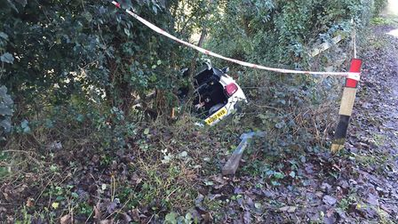 The car was hidden from view after the crash. Picture: Gemma Fairweather