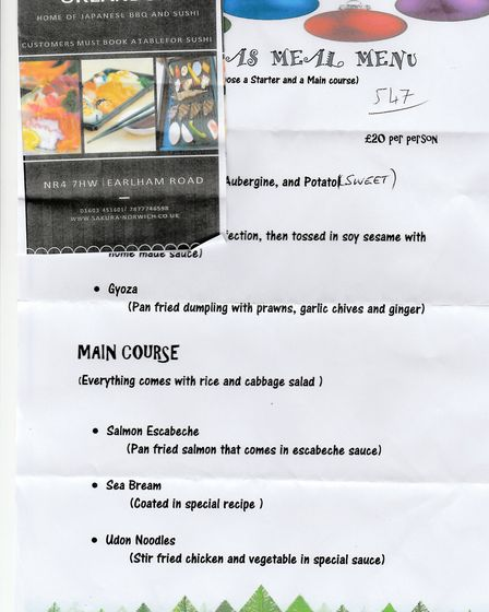 A leaflet advertising the property as a Japanese restaurant. Photo: Submitted