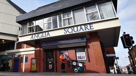 Police are still searching for a man who assaulted two people with a weapon near Anglia Square. Pict