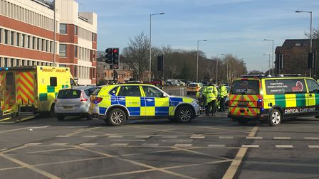 Emergency services were called to Queens Road, near the Sainsbury's Store, to reports of a crash at