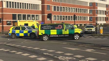 A pedestrian has suffered an arm injury after being by a motorbike in Norwich. Photo: Archant