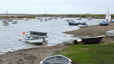 Burnham Overy Staithe. It is possible that large ships were once able to sail up the River Burn, whi