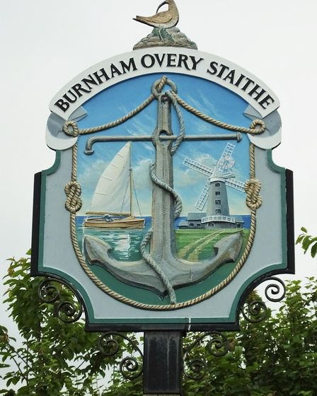 The village sign of Burnham Overy Staithe on the north Norfolk coast. Picture: DR ANDREW TULLETT
