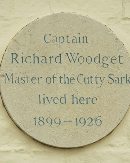 A plaque commemorating the home of captain Richard Woodget, final master of the Cutty Sark, in Burnh