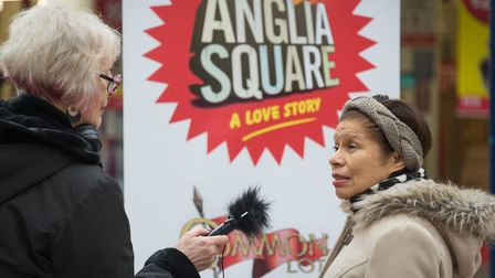 A vox pop being conducted for Anglia Square: A Love Story, a production by Norwich-based production