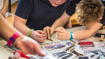 Printmaking at Wensum Junior School. Pupils from the school are taking part in the research project