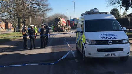A cement lorry has been involved in a crash on Dereham Road in Norwich. Picture Dan Grimmer.