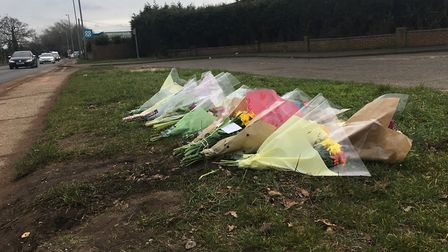 Floral tributes left at scene of crash on Dereham Road where Bethany Alexander was killed. Picture P