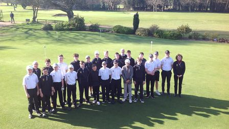 The Norfolk junior golf squads pictured at Royal Norwich with Norman Blanch, Nick Macartney and Samm