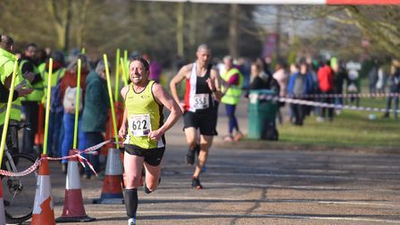 Matthew Stone digs deep on the home straight at the Valentine's 10K last Sunday. PICTURE: Jamie Hone