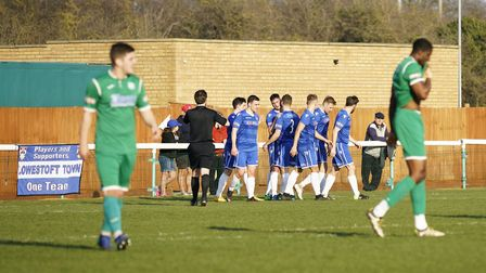 Lowestoft celebrate Travis Cole's goal at Biggleswade Picture: Shirley D Whitlow