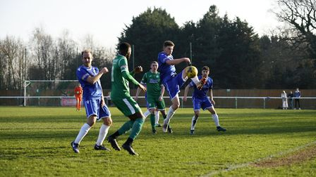 Kyle Barker in action for Lowestoft at Biggleswade Picture: Shirley D Whitlow