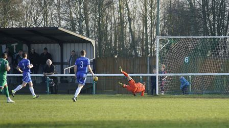 Lowestoft Town keeper Elvijs Putnins in action at Biggleswade Picture: Shirley D Whitlow