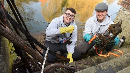 The Dippy Detectorists, Matthew Leggett, left, and Matthew Miller, show some of the things they have