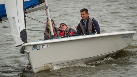 RYA Sailability Sailor of the Year Bryony Limb in action on the Norfolk Broads with the Nancy Oldfie