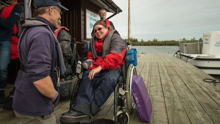 RYA Sailability Sailor of the Year Bryony Limb with Nancy Oldfield Trust centre manager Stephen Brad