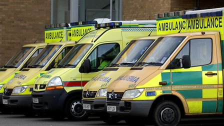 Ambulances at the accident and emergency department at the Norfolk and Norwich University Hospital.
