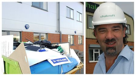 Chalcroft's offices in King's Lynn were closed when we visited with a skip outside. (Right) Chalcrof
