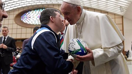 Rugby charity Wooden Spoon arranged an audience with Pope Francis for special needs team The Barnhal