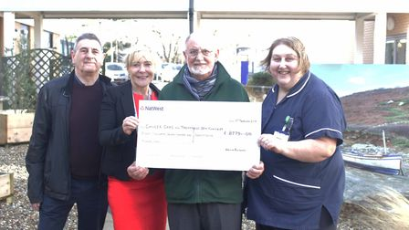 Gavin English has raised £60,000 for Macmillan Cancer care and Treatment Unit at the QEH. Pictured L