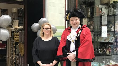Joanne Cannon with Norwich's Lord Mayor Martin Schmierer, who cut the ribbon to open the store. Pict