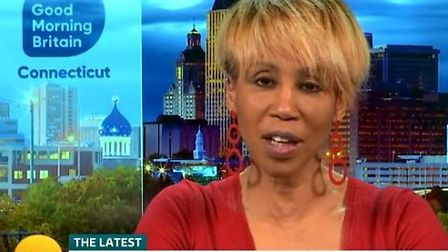 Trisha Goddard discussing Stacey Dooley's Comic Relief Instagram photo on Good Morning Britain. Phot